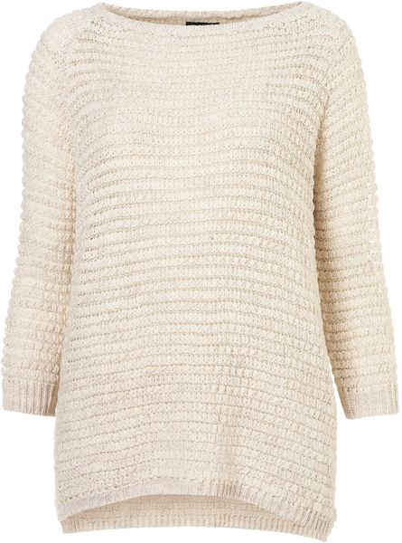 Topshop Knitted Grill Stitch Jumper in Beige (cream)