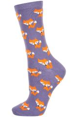 Topshop Purple Foxy Fox Ankle Socks