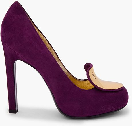 Saint Laurent Purple Suede Catherine Pumps in Purple