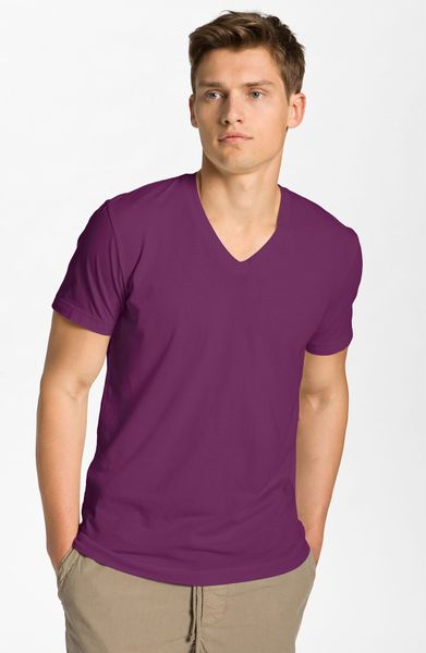 James perse jersey vneck tshirt in purple for men for James perse t shirts sale