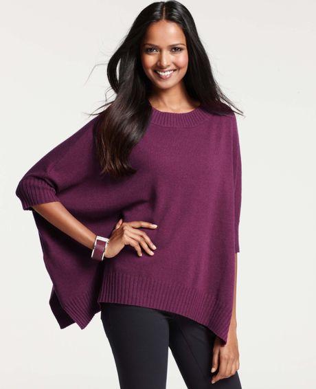 Ann Taylor Merino Wool Blend Poncho Sweater In Purple