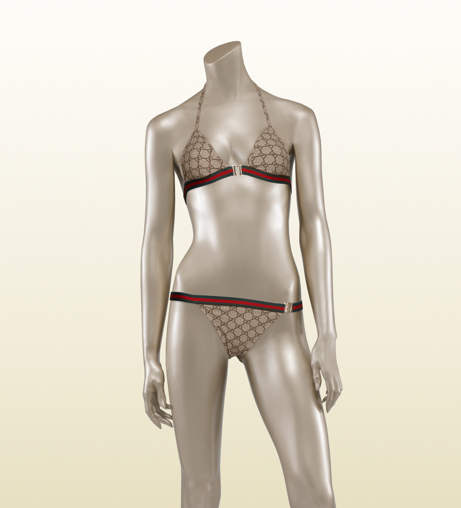 ca7b0b8d1ac5c Lyst - Gucci Triangle Top Bikini with Signature Web in Natural
