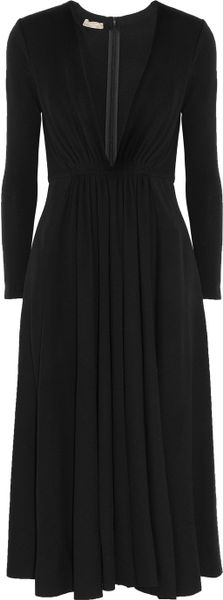 Michael Kors Wooljersey Midi Dress in Black - Lyst