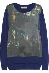 Preen Line Abstract Aline Printed Satin and Knitted Sweater - Lyst