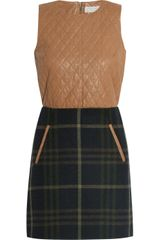 Thakoon Addition Quilted Leather and Plaid Woolblend Mini Dress