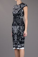 Alexander Mcqueen Fitted Paisley Dress in Black - Lyst