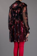 Alexander Mcqueen Sheer Silk Blouse in Floral (black) - Lyst