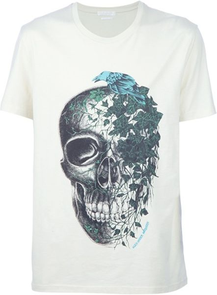 Alexander Mcqueen Ivy Skull Tshirt in White for Men