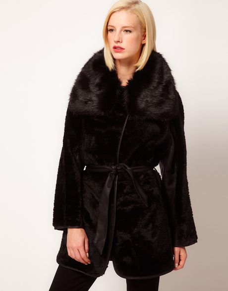 Asos Collection Fur Coat with Pu Belt in Black - Lyst