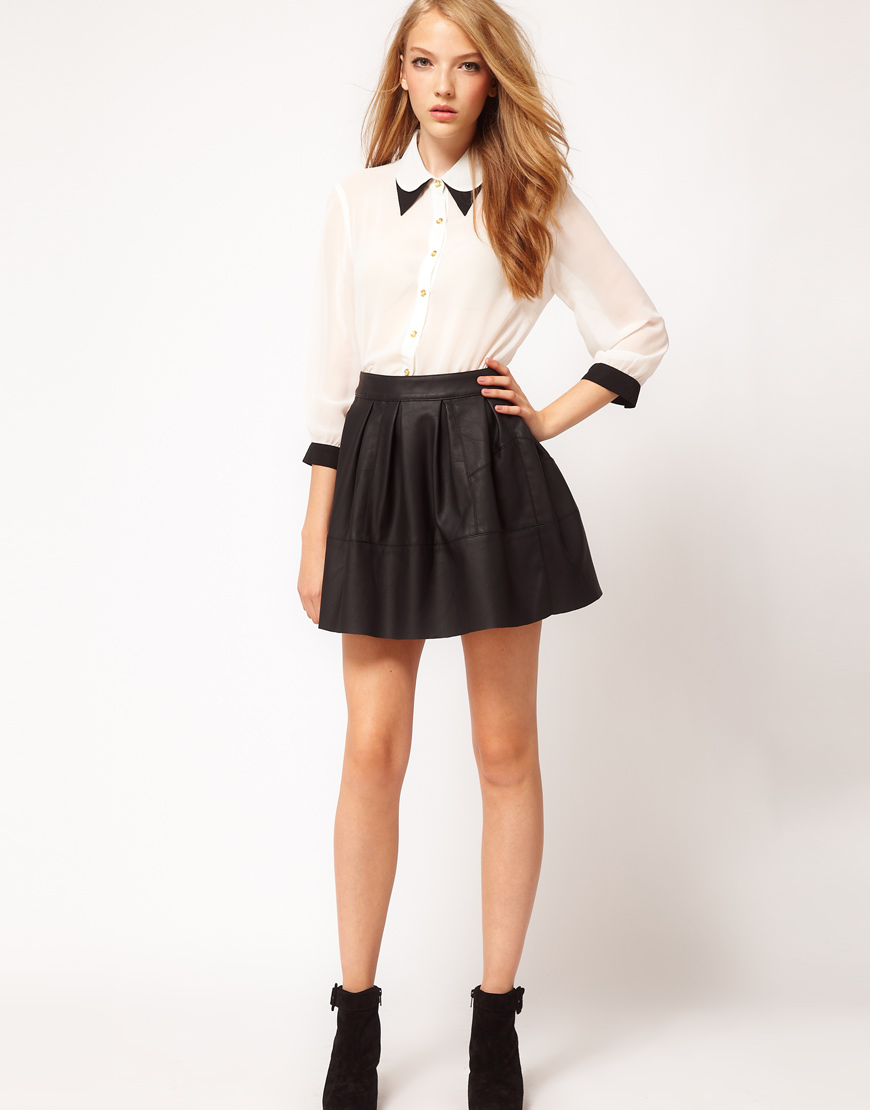 Asos Collection Skater Skirt in Leather Look in Black | Lyst