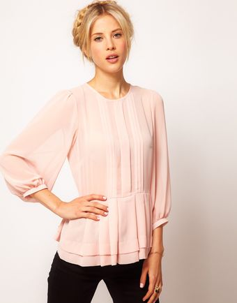 ASOS Collection Sheer Top with Peplum and 34 Sleeves - Lyst