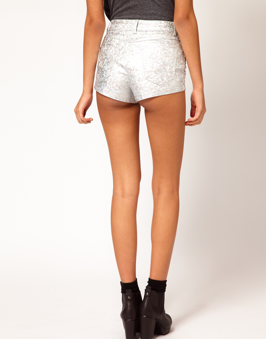 Asos collection High Waist Denim Shorts in Silver Holographic ...