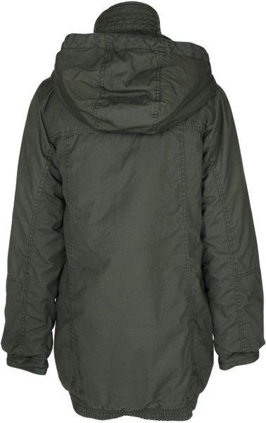 Bench Womens Pea Pod Heavy Jacket In Gray Black Diamond
