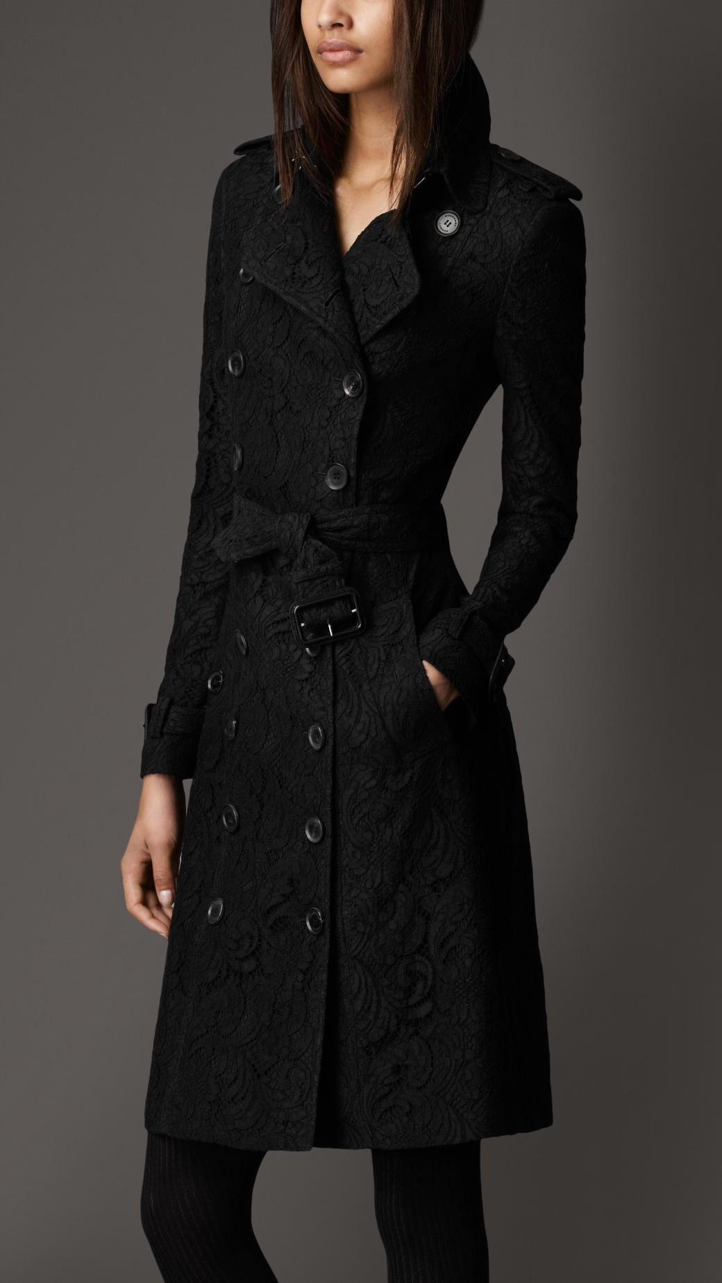 burberry long lace trench coat in black lyst. Black Bedroom Furniture Sets. Home Design Ideas
