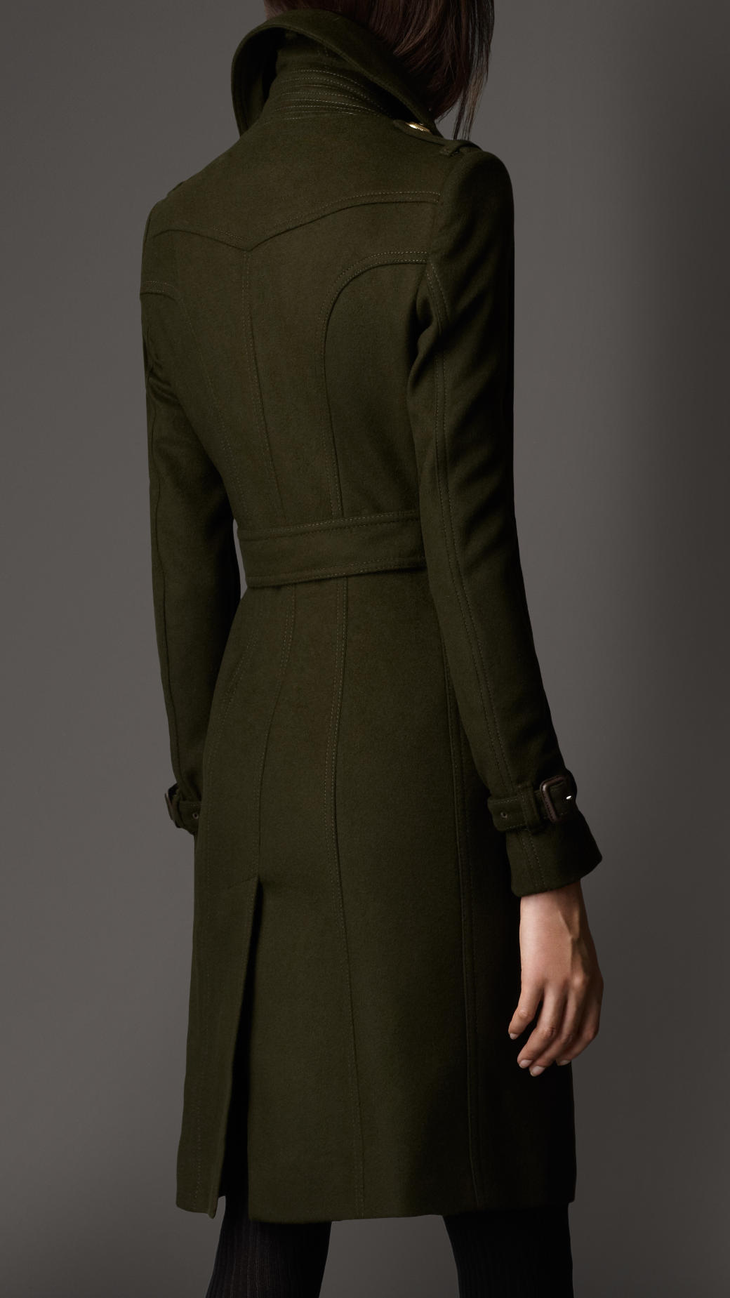 Lyst Burberry Leather Detail Wool Trench Coat In Green