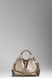 Burberry Small Metallic Leather Tote Bag - Lyst
