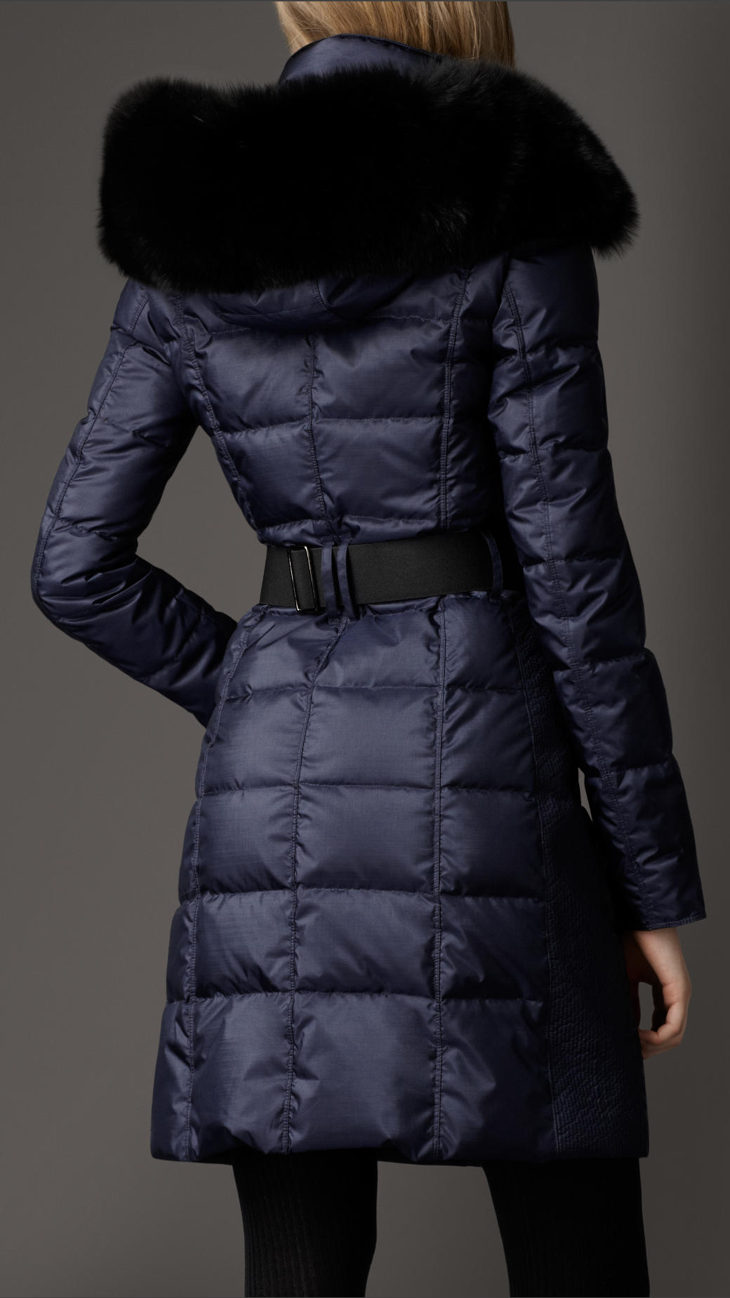Lyst Burberry Fur Trim Quilted Coat In Blue