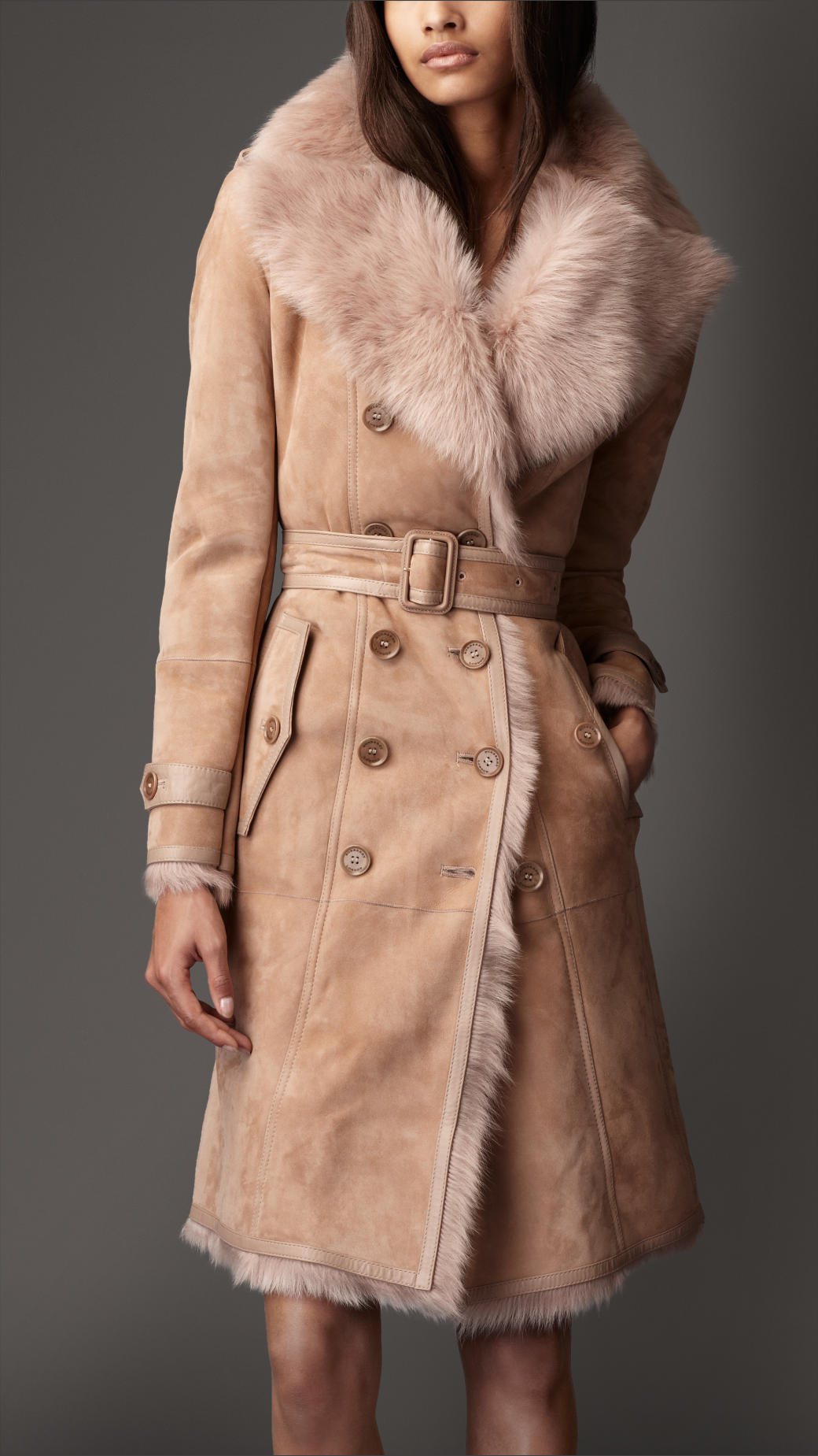 Burberry Long Shearling Trench Coat in Natural | Lyst
