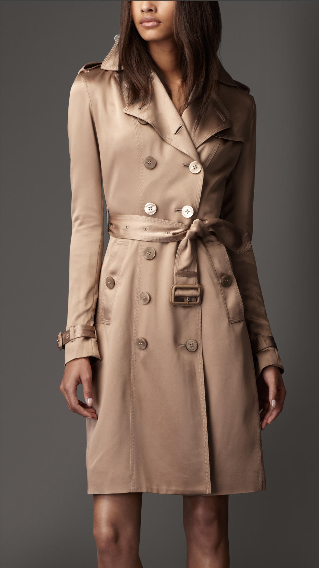 burberry long silk trench coat in natural lyst. Black Bedroom Furniture Sets. Home Design Ideas