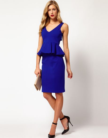 coast idette pencil skirt in blue cobalt lyst