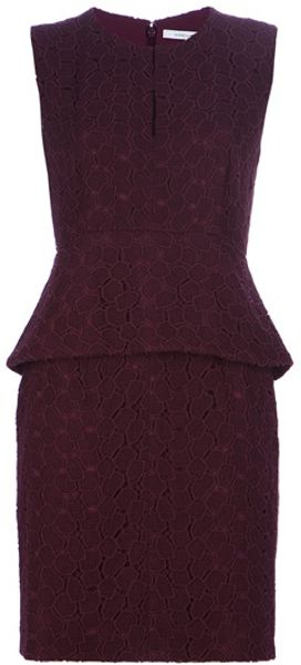 Diane Von Furstenberg Delian Lace Dress in Red (aubergine)