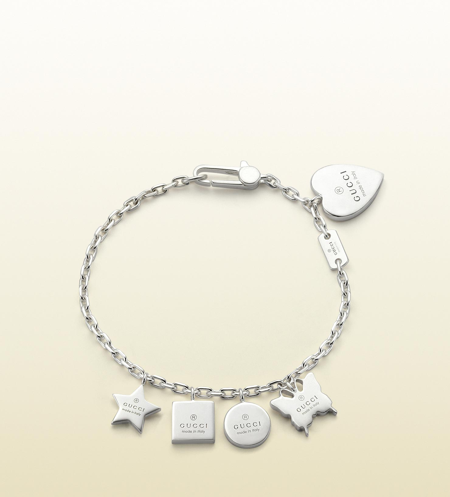 5b6612699 Gucci Bracelet with Gucci Trademark Engraved Charms in Metallic - Lyst