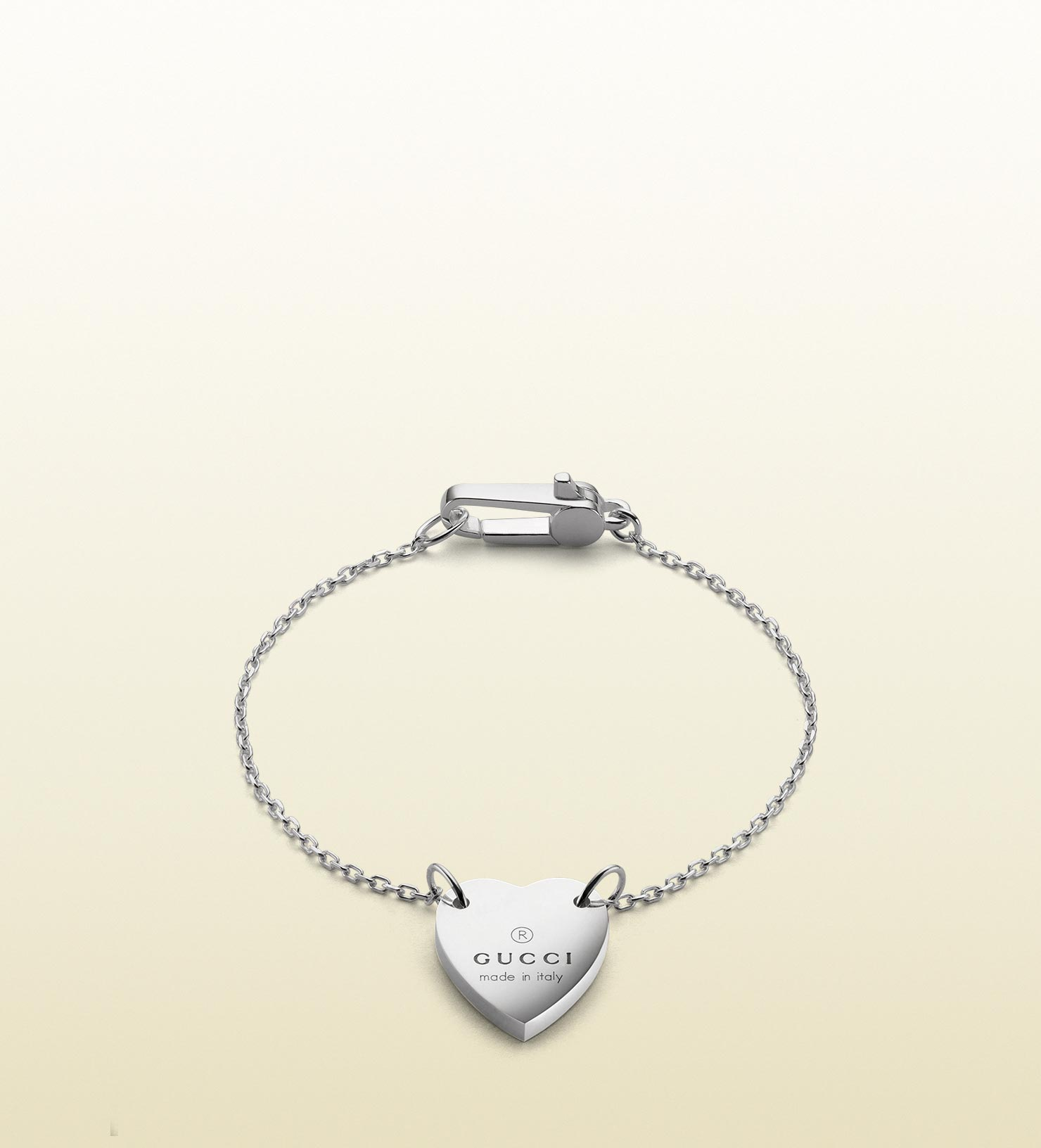 Gucci Bracelet With Trademark Engraved Heart In Metallic