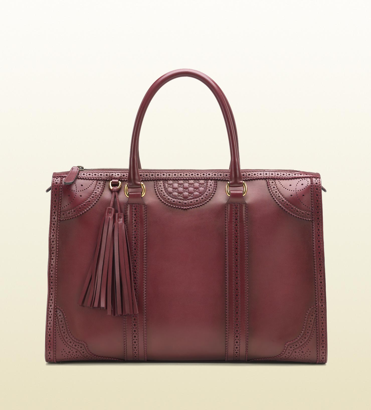 2099a9d3fefe Gucci Duilio Brogue Leather Tote in Red - Lyst