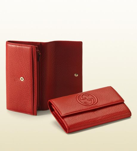 Gucci Burnt Orange Leather Continental Wallet in Red (orange) - Lyst