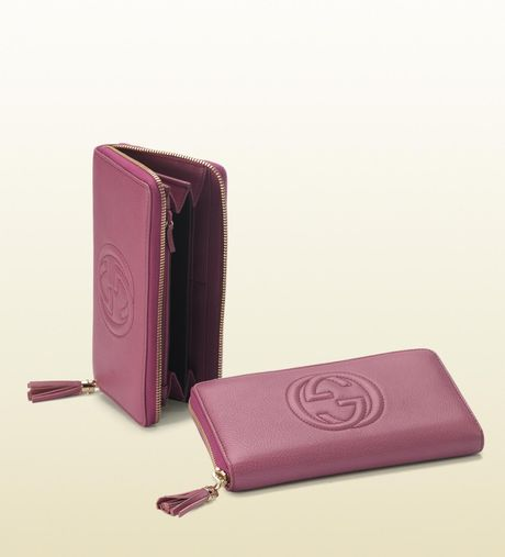 Gucci Interlocking G Zip Around Wallet in Pink - Lyst