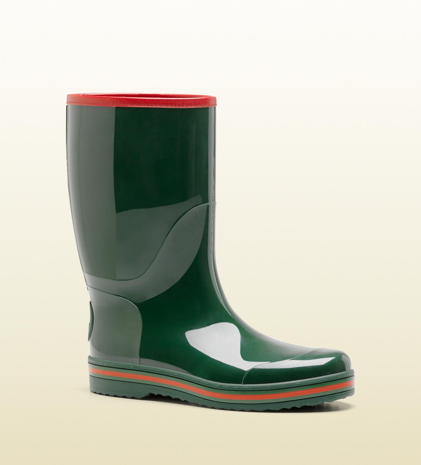 Gucci Rain Boot In Green For Men Lyst