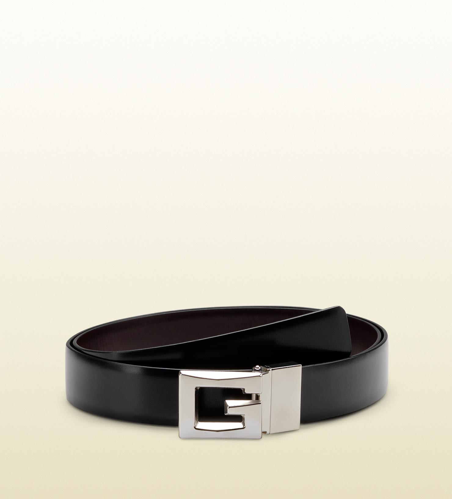 ee1d9e33169 Lyst - Gucci Reversible Belt with Raised Square G Buckle in Black ...