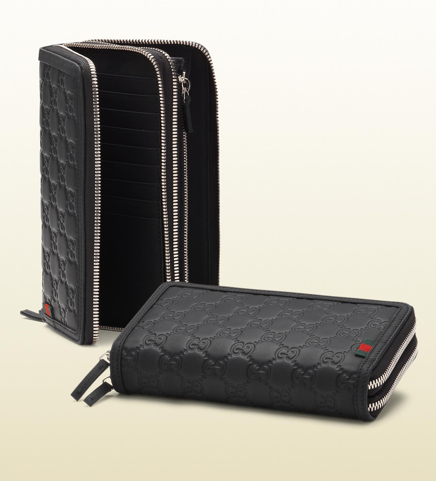 0ab160c4d04 Lyst - Gucci Rubber Ssima Leather Double Zip Around Wallet in Black ...