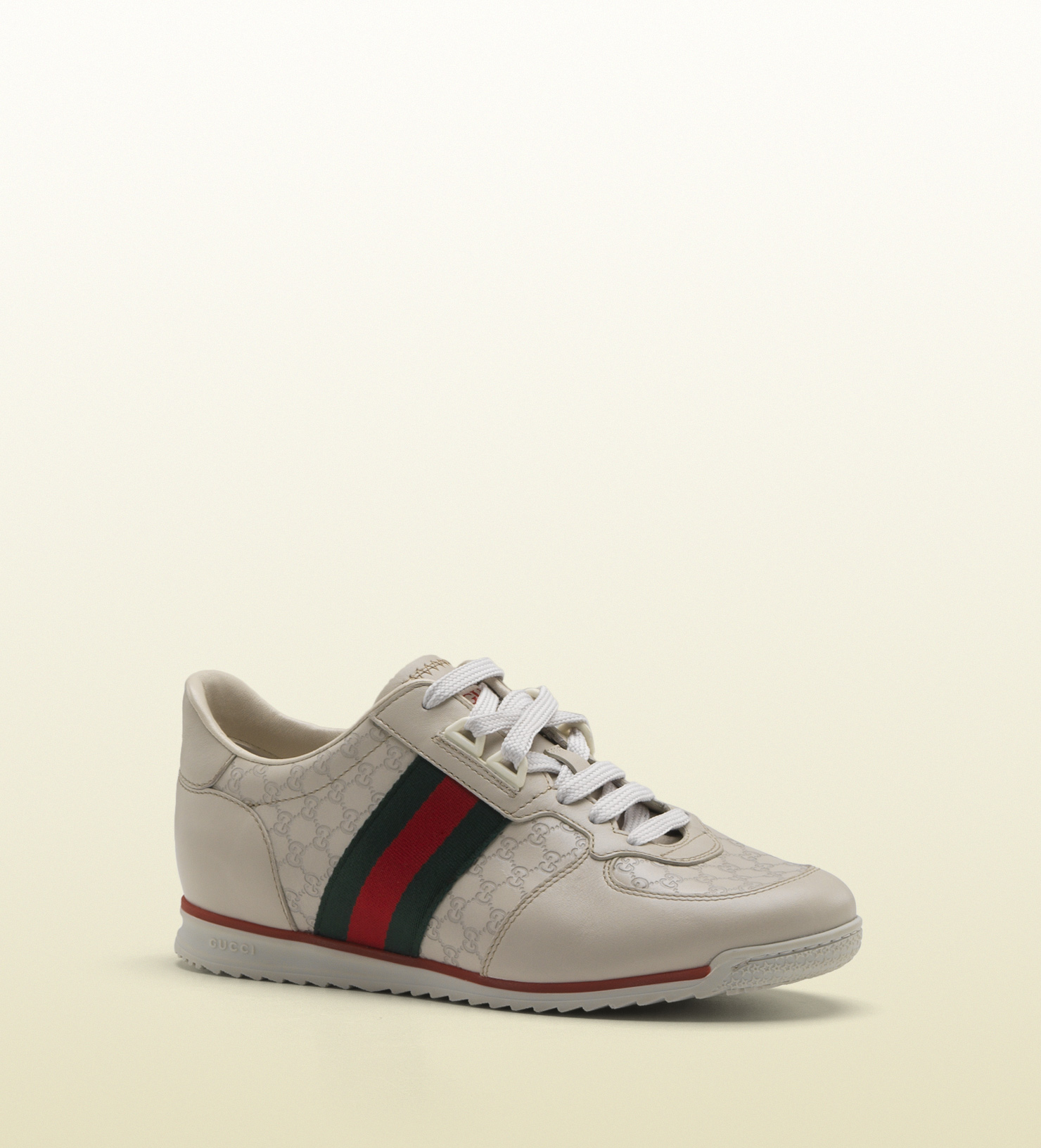 97616a44a9aa8 Lyst - Gucci Sl73 Laceup Trainer with Signature Web Gucci Label On ...