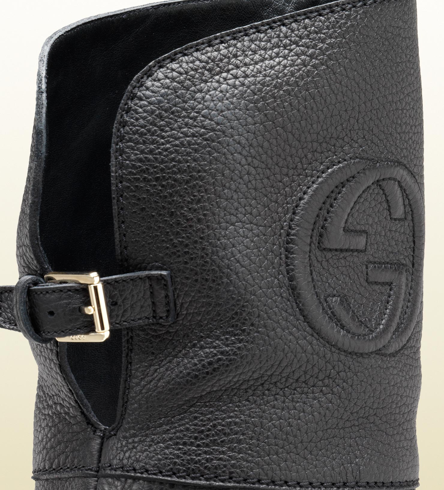 e30399b163f9 Lyst - Gucci Over-the-knee Embossed Interlocking G Low Heel Boot in ...
