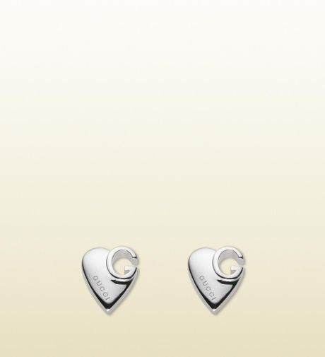 Gucci Stud Earrings with Heart in Silver - Lyst