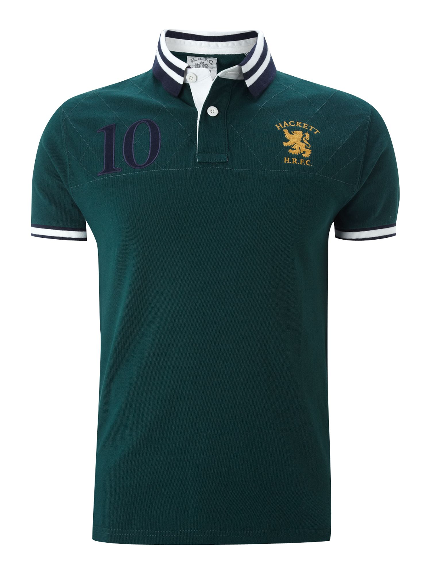 Hackett regular fit hrfc quilt top polo shirt in green for for Forest green polo shirts
