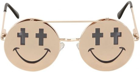 Jeremy Scott Shiny Smile Sunglasses in Gold for Men - Lyst