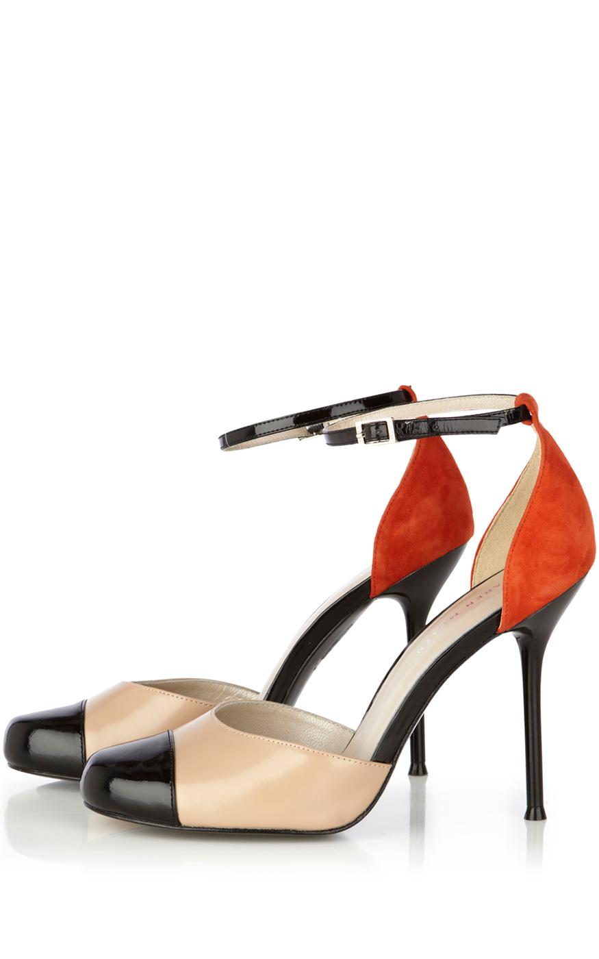e2d03ea6162 Karen Millen Colourblock Ankle Strap Shoe in Natural - Lyst