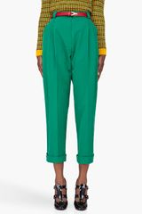 Kenzo  Peached Twill Pants in Green - Lyst