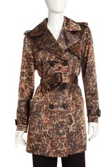 Lafayette 148 New York Cheetah-Print Trench Coat - Lyst