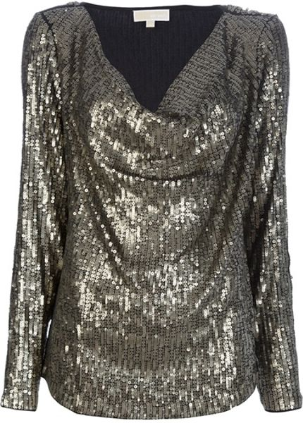 Michael Kors Sequin Top in Silver - Lyst