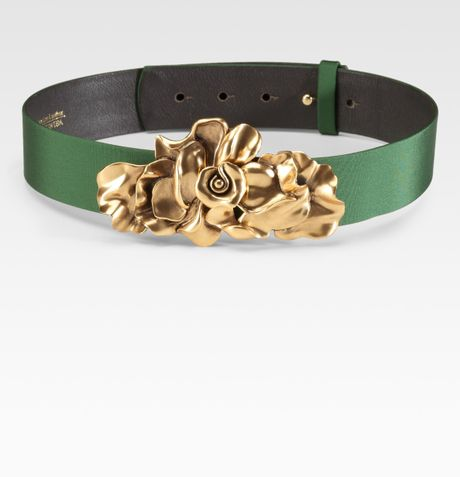 Oscar De La Renta Floral Buckle Belt in Green (evergreen) - Lyst