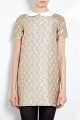 Paul & Joe Sister Gold Brocade Dress with Detachable Collar