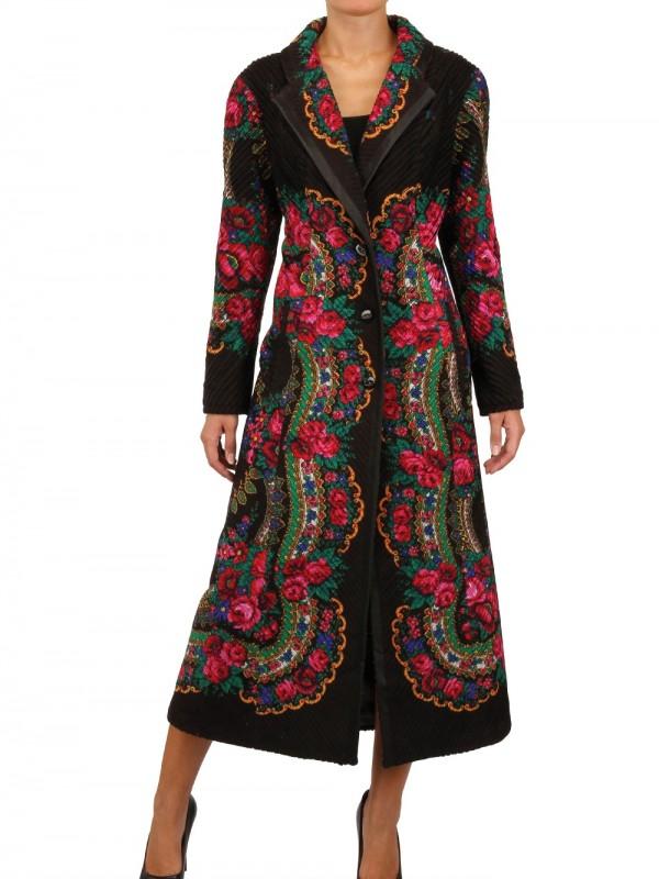 Lyst Serebrova Floral Pleated Wool Coat