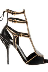 Sergio Rossi Multi Strap Sandals in Black Shorthaired Cowhide - Lyst