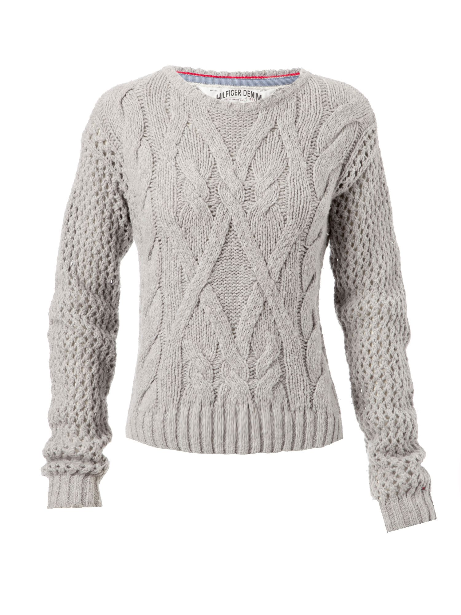 Free Knitting Scarf Pattern : Tommy hilfiger Long Sleeve Cable Knit Jumper with Crew Neck Aw in Gray Lyst