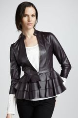 Alice By Temperley Page Rufflehem Leather Jacket - Lyst