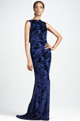 Badgley Mischka Burnout Velvet Gown - Lyst