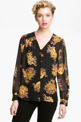 Bellatrix Sheer Vneck Blouse - Lyst